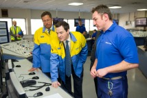 Chancellor of the Exchequer George Osborne (centre) in a control room with CEO of Tata Steel Europe Karl Koehler (left) during a visit to the Tata Steel factory in Port Talbot, South Wales.